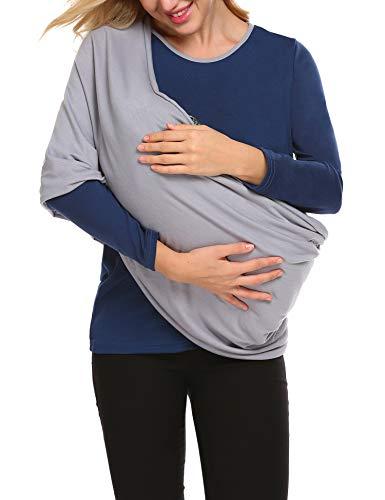 Damen Schlafanzugoberteil Stillshirt Umstandstop Stilloberteil Bluse T-Shirt mit Schal für Schwangere Baby Stillen, Warmhalten, Winter
