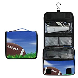 Kulturtasche mit Rugbyball und Rasen, multifunktional, Kosmetiktasche, zum...