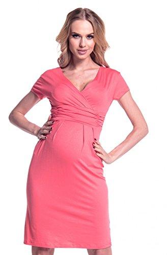 Happy Mama femme maternité robe de grossesse manche courte col V robe d'été 573p Corail