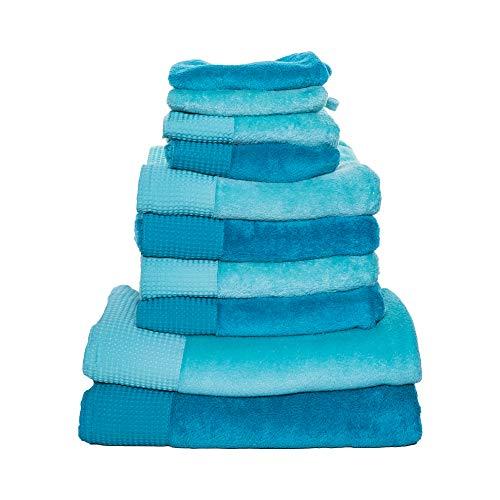 FineWellness 10 teiliges Handtuch Handtücher Set Mikrofaser mit Bordüre (blau/türkis)