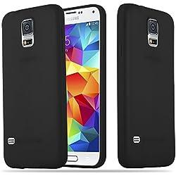 Cadorabo Coque pour Samsung Galaxy S5 / S5 Neo en Candy Noir - Housse Protection Souple en Silicone TPU avec Anti-Choc et Anti-Rayures - Ultra Slim Fin Gel Case Cover Bumper
