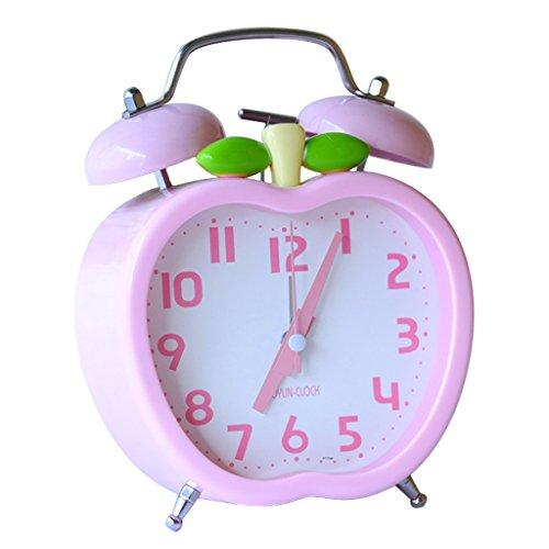NNIU-AL Non-Tick stumm Wecker Kreative Leuchtende Cartoon Student Schlafzimmer Nachttischuhr (Farbe : Pink)