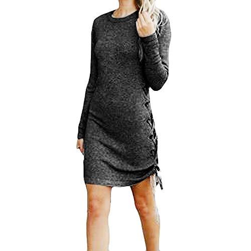 Splrit-MAN Damen Freizeit Kleid Elegant Rundhals Midi Kleider Blusenkleider Ballkleid Pullover Festkleid Frauen Langarm Seitengurt Wickelkleider Abendkleider Etuikleid