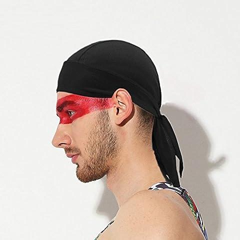 Casquette de cyclisme pour homme de la transpiration Bonnet Crème solaire Headwear Écharpe Cyclisme Course à Pied Sport Bandeau, noir