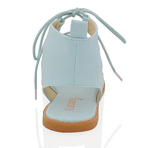 Essex Glam Sandalo Donna Gladiatore con Lacci Peep Toe Pelle Sintetica Blu Pastello Pelle sintetica