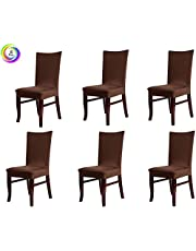 House of Quirk Elastic Chair Cover Stretch Removable Washable Short Dining Chair Cover Protector Seat Slipcover - Brown (Pack of 6)