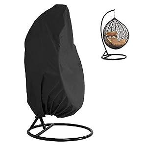 PandaHug Hängesessel Schutzhülle Schwebesessel Oxford Wasserdicht Wetterfest Terrasse Schaukelstuhl Abdeckung mit Reißverschluss Schwarz, 190 x 115 cm
