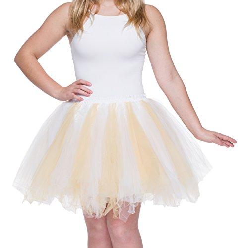 Dancina Damen Petticoat 50er Jahre Vintage Tutu Tüllrock Weiß / Gelbgold Übergröße