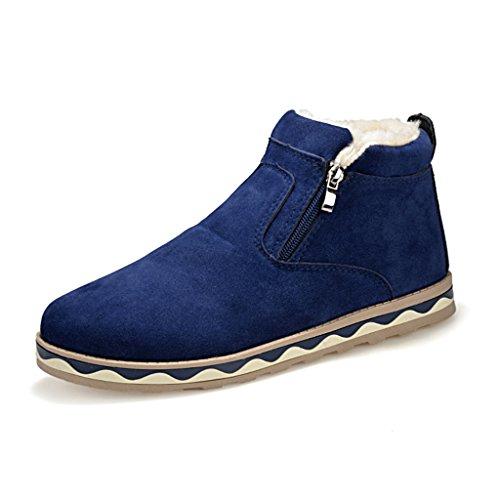 SITAILE Herren Boots Schneestiefel Winterstiefel Outdoor Warm Gefütterte für Winter,Blau,39 (Klassische Gefütterte Halbschuhe)