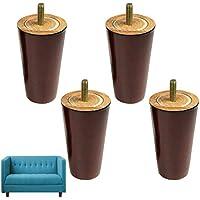 4x 5cm, pies de madera de repuesto patas de muebles 100mm de altura para sofás sofá taburete banco burdeos color rojo acabado en forma de cono