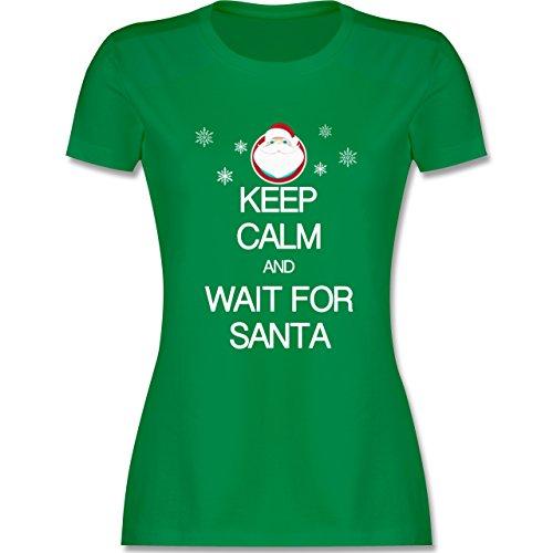 Keep calm - Keep calm and wait for Santa - tailliertes Premium T-Shirt mit Rundhalsausschnitt für Damen Grün
