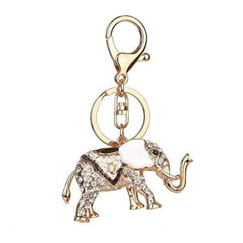 Windy5 Anillo titular de la clave llavero de coches Elefante afortunado goteo de aceite Rhinestone llavero de aleación de cristal Animal