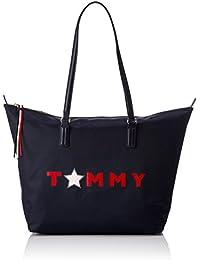 Tommy Hilfiger Poppy Tote Star, Sacs portés épaule femme, Blau (Tommy Star), 14x32x47 cm (B x H T)