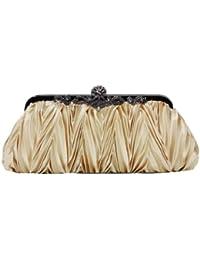 Beau diamant des femmes brillant satin plissé de sac d'embrayage de soirée