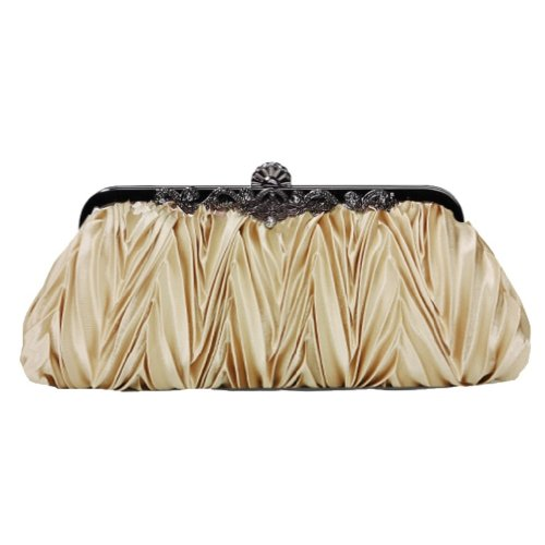 Frauen schön plissierte Seide Abend Clutch Bag mit langkettigendurch Aimerfeel beige