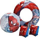 Kids Children Boys Disney Spider-Man Swim and Inflatable Beach Outdoor Swimming rubber ring, armbands and beach ball, Set