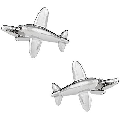 Gemelos plateados de rodio con forma de avion y caja de presentacion