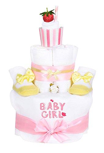 Windeltorte Cupcake Mädchen gelb/rosa Baby Girl 1x Lätzchen,1x Babysocken mit Satinschleife, 1x weiße Socken,+ Grußkarte| Geschenk Geburt