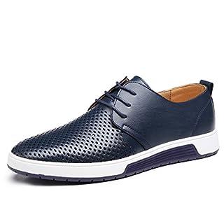 Dewuseller Herren Freizeit Schuhe Aus Leder Mesh Atmungsaktiv Business Schuhe Oxford Halbschuhe Zum Schnürer Tragbar Flache Slipper für Party Blau Übergrößen 42
