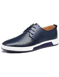 Herren Freizeit Schuhe aus Leder Business Anzugschuhe Mesh Atmungsaktiv Lederschuhe Oxford Halbschuhe Zum Schnürer Flache Slipper für Party Hochzeit übergrößen 37-48