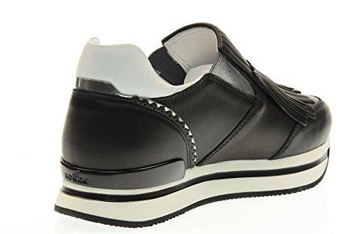 HOGAN scarpe donna slip on HXW2220X170DZF016O H222 MOCASSINO FRANGIA Nero