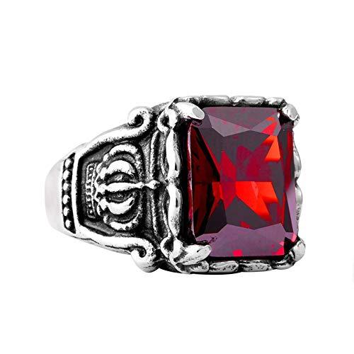 Aienid Herrenring Retro Rot Crown Red Stone Zirkonia Ring Für Männer Size:60 (19.1) (Stone Red Vintage-ring)