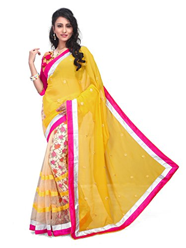 Winza Half Half Yellow New Partywear Net and georgette Saree for women ( with discount and sale offer)