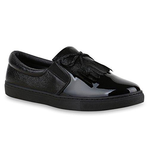 Damen Sneakers Slip-ons Lack Glitzer Metallic Slipper Schuhe Schwarz Lack Fransen