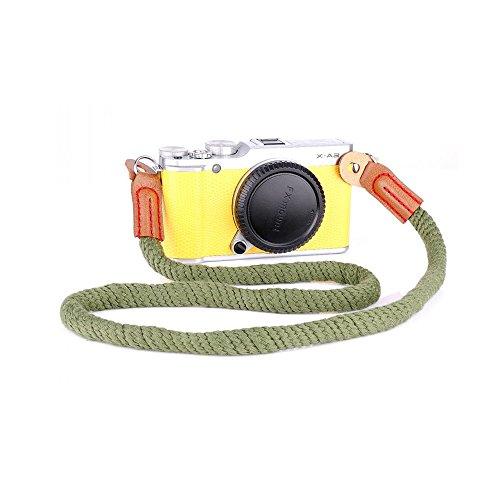 LXH Cinturino per fotocamera vintage vintage in cotone morbido a tracolla realizzato a mano per Fujifilm X100F X100 X100S X100T X-T20 X-T10 X-T2 X70 X-Pro2 X-E2S X-E2 X-E1 X-T1 X-Pro1 Telecamere per Leica Nikon Fuji Pentax Canon Panasonic Sony Lunghezza 29.4 pollici (Cinturino corto verde)