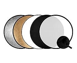 Phorex 5in1 Faltreflektoren Set - 110cm Ø - Gold, Silber, schwarz, weiß und Diffusor