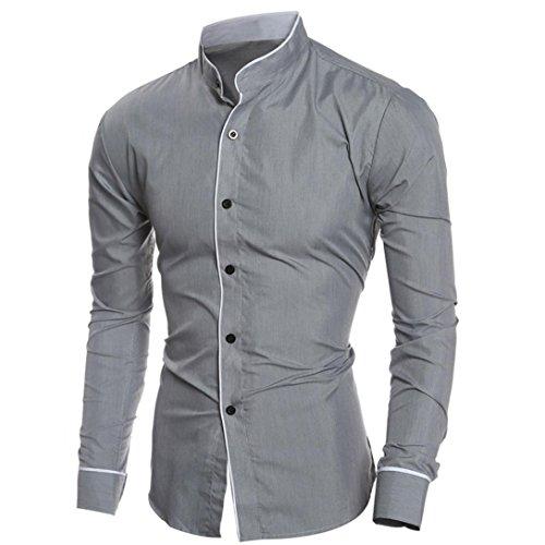 Herren Neue Slim Fit Shirt Bluse, Amlaiworld Langarm Business Shirt Bluse (M, Gray)