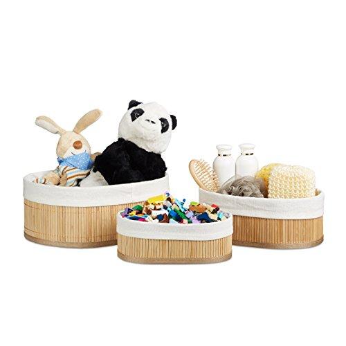 Relaxdays Regalkorb Set Bambus oval, 3 runde Aufbewahrungsboxen 12,5 x 32 x 22 cm HxBxT für Regal...