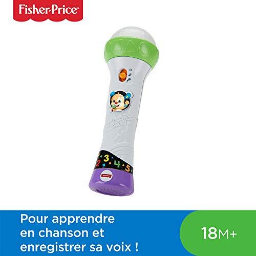 Fisher-Price le Micro de Puppy Jouet Bébé, Deux Modes de Jeu pour Apprendre en Musique et Enregistrer Sa Voix, 18 Mois et Plus, FBP31