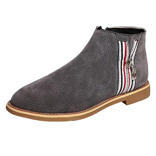 Yesmile Zapatos para Mujer❤️Zapatos Botas de Tobillo de Las Mujeres de la Vendimia de la Manera Zapatos Planos de Cuero Suaves Zapatos cómodos de la Bota