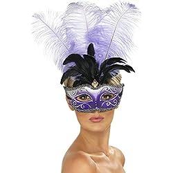 Maschera veneziana con piume viola nere Venezia carnevale occhi mascherina Colombina ballo