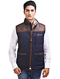 JUMP USA Men's Sleeveless Casual Wear with Leather Touch | Men Stylish Winter Bomber Jacket