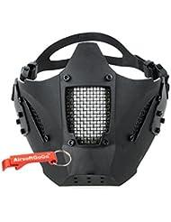 Adjustable Táctico Estilo militar TMC Jay Fast Media cara de la Máscara protectora para Airsoft (Negro) - AirsoftGoGo Llavero Incluido