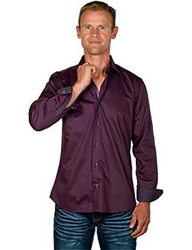 Ugholin - Camisa Casual Ajustada de Manga Larga para Hombre - Dustin