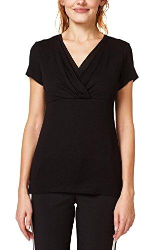 ESPRIT Collection Damen T-Shirt 998EO1K802, Schwarz (Black 001), X-Large (Kurzarm-wickel-shirt)