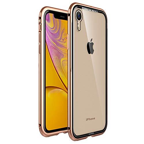 Gold Tarnung (JZWDMD Kompatibel für iPhone X/XS Hülle, iPhone XR Hülle, Bumper Case Aluminium Rahmen Ultra Dünn Gehärtetes Glas Transparente Back Cover für iPhone XS MAX,Gold,iPhoneXR)