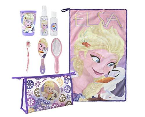 Disney Frozen Elsa y Olaf | Accesorios para Niñas | Set de Viaje Esencial | Toalla De Mano | Botellas de Viaje | Bolsa de Viaje | Cepillo/Peine Pelo | Vaso | Cepillo de Dientes |