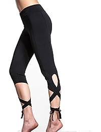 Tongshi Mujeres Deportes Gimnasio Entrenamiento de Yoga Polainas Cropped Fitness Lounge Athletic Pants (negro, M)