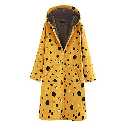 Donna Oversize Vintage Cotton Lino Cappotti Donne Manica Lunga Cappotto Retro Stampa Zipper Cappotto Lungo con Cappuccio(Giallo,S)
