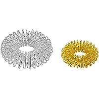 Preisvergleich für 5 x 2er Set Massageringe Fingermassage-Ring Energie-Ring-Set Yin und Yang in silber groß und gold klein