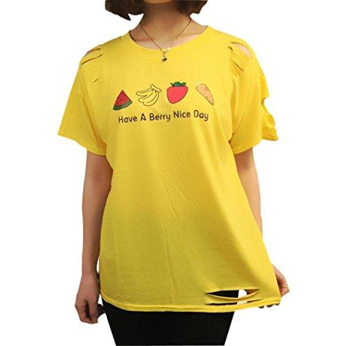 feiXIANG im sommer print weste kurzarm t - shirt lässig bluse tank tops druckte hemd (L, Gelb) (Rüschen Tank-anzug)