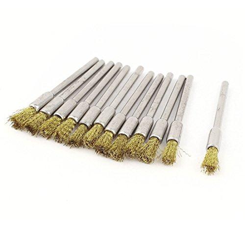 Preisvergleich Produktbild sourcingmap® 12 x 1/20,32 cm Schaft 5 mm Pen Bristle Bürste Messing für Dremel