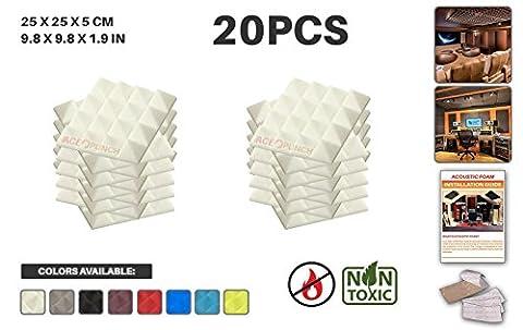 Ace Punch 20 Paquet Pyramide Mousse Acoustique Panneau Insonorisation Sonorisation Absorbeur Traitement avec Ruban Adhesif 25 x 25 x 5 cm Blanc AP1034