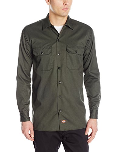 Dickies Herren Long Sleeve Work Hemd, Verde (Olive Green), Groß -
