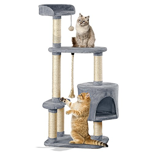 Cat Scratching Post Pet Activity Centre Extra Large Tree with Scratcher, Rope Bed & Lounger (Grey)