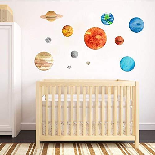 3D 9 pcs Lumineux Stickers Muraux Décoration Autocollant Système Solaire Modèle Art Decal Lueur dans L'obscurité pour Les Enfants 'Baby Nursery Salon Room Art Décoration, 1